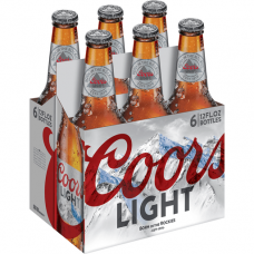 Coors Light Lager Beer pack of 6 (12 oz) bottles