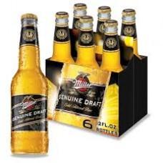 Miller Genuine Draft Beer, American Lager pack of 6 (12 oz) bottles