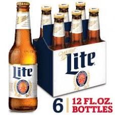 Miller Lite Lager Beer pack of 6 (12 oz) bottles