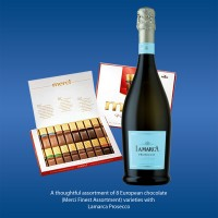 Lamarca Prosecco with Merci Finest Assortment Chocolate Gift Box