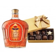 Crown Royal Peach Flavored Whisky & Godiva Chocolates Gift Box