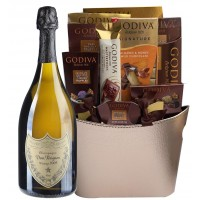 Dom Perignon & Assorted Godiva Chocolates Gift Basket