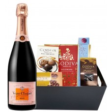 Veuve Clicquot Rose & Assorted Godiva Chocolates Gift Basket