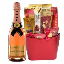Moet and Chandon Nectar Imperial Rose & Assorted Godiva Chocolates Gift Set