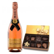 Moet & Chandon Nector Impérial Rose Champagne & Godiva Chocolates Gift Box