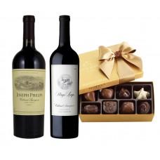 Napa Valley Wines Basket & Godiva Chocolates Gift Box