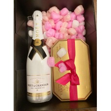 Moet & Chandon Ice Imperial with Godiva G Cube Truffles Gold Tin & Spring Ribbon