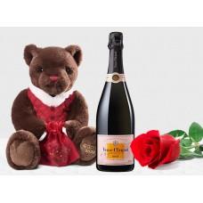 Veuve Clicquot Rose with Godiva Teddy & Rose