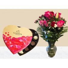 Godiva Heart Shape Chocolate Box with 1 Dozen Rose & Glass Vase