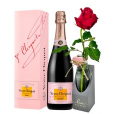 """Veuve Clicquot Rose with Rose & Wood Vase Glass Plants Flowers with message """"Love Forever"""""""