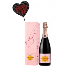 Veuve Clicquot Rose with Black & Red Script Heart Wood Pick