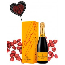 Veuve Clicquot Brut with Black & Red Script Heart Wood Pick