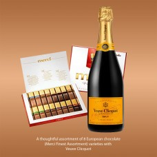 Veuve Clicquot with Merci Finest Assortment Chocolate Gift Box