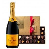 Veuve Clicquot Brut with Godiva 26 Pc Chocolates  Box