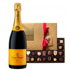 Veuve Clicquot Brut with Godiva 26 Pc Chocolates  Box