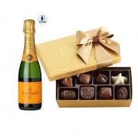 Veuve Clicquot Champagne 375 ml & Godiva Chocolates Gift Box
