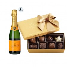 Veuve Clicquot Champagne 375 ml & Godiva Chocolates Gift Box