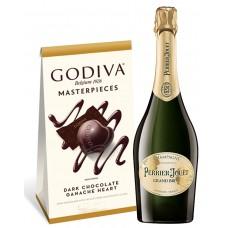 Perrier-Jouet Grand Brut Champagne & Godiva Chocolates Gift Box